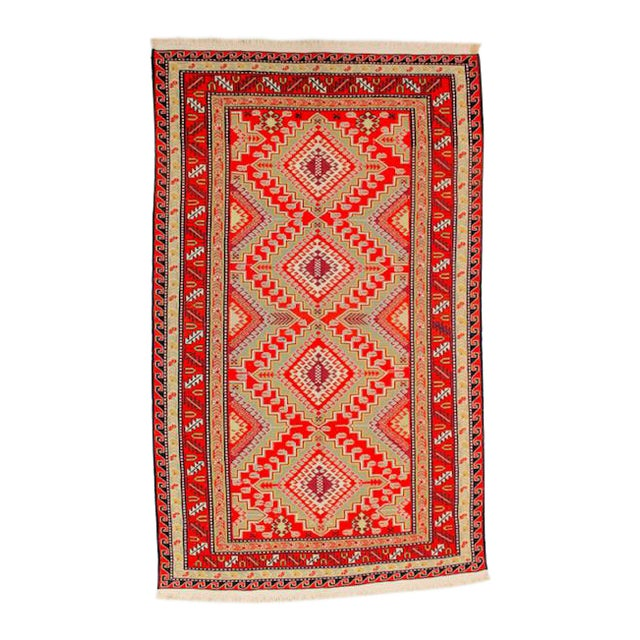 Red & Orange Afghan Sumak Kilim Rug - 5′3″ × 8′3″ For Sale