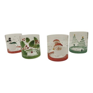 Cocktail Vintage Hand-Painted Holiday Set of Four Glasses For Sale