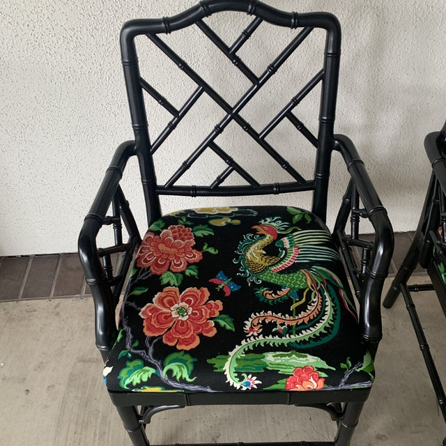 Black Bamboo Chairs- a Pair For Sale - Image 4 of 13