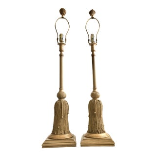 1970s Hollywood Regency Gilt Rope and Tassel Lamps - a Pair