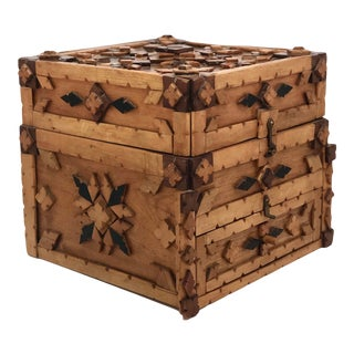 Tramp Art Chip Carved Box With Drawer For Sale
