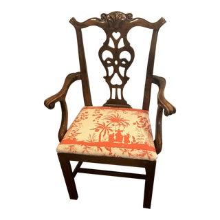 1960's Vintage Chippendale Quadrille Fabric Armchair For Sale