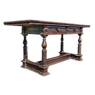 Italian Baroque Walnut Writing Table For Sale