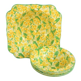 1940s Yellow and Green Crown Ducal Ware Chintz Bowls - Set of 5 For Sale