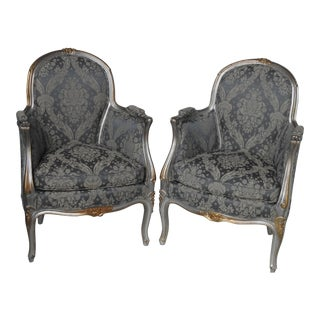 Louis XV Style Petite Bergeres - a Pair