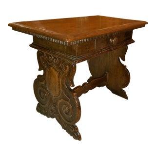 Italian Baroque Walnut Side Table For Sale
