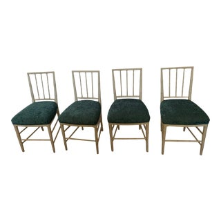 Vintage Swedish Painted Side Chairs With Upholstered Teal Seats -Set of 4 For Sale