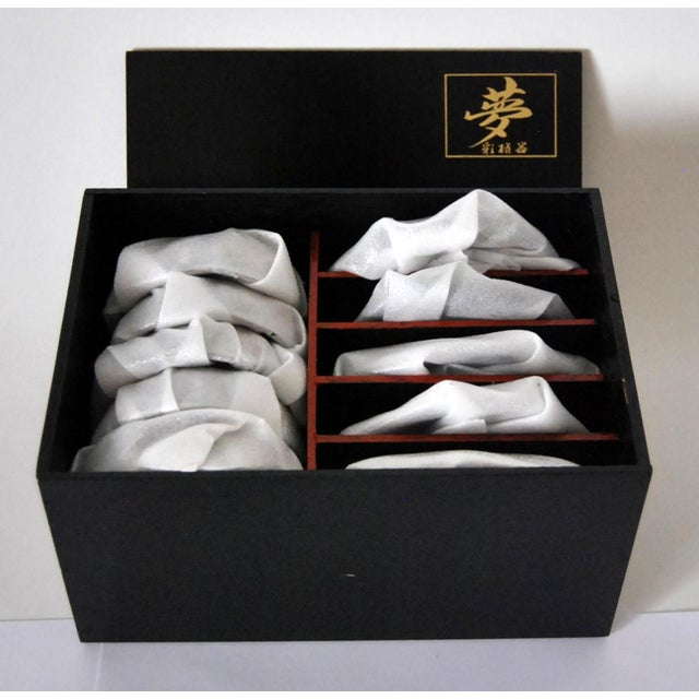 Blue Vintage Cherry Blossom Shaped Celadon Arita Imari Cups, Saucers & Box - Set of 10 For Sale - Image 8 of 9