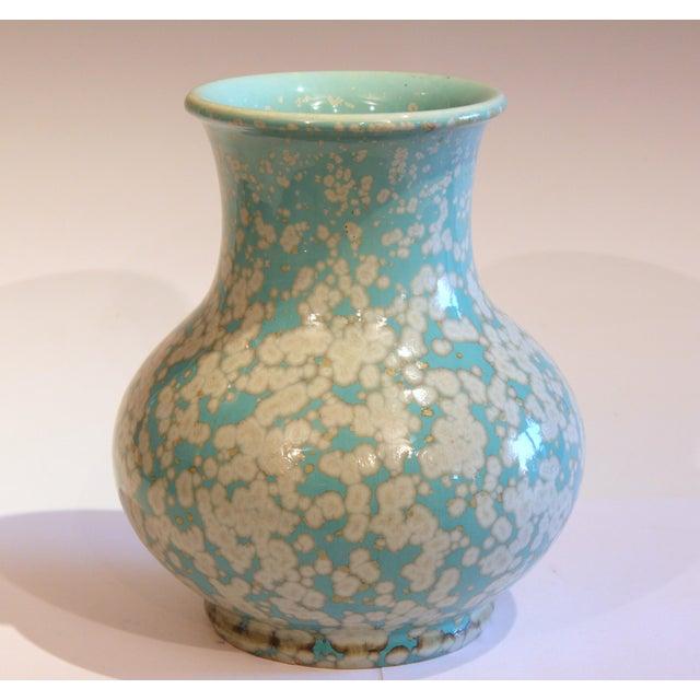 Japanese Studio Porcelain Antique Old Crystalline Sky Blue Hu Form Vase For Sale - Image 12 of 12