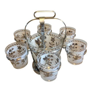 Mid-Century Modern Glasses and Chrome Ice Bucket - 9 Pc Set