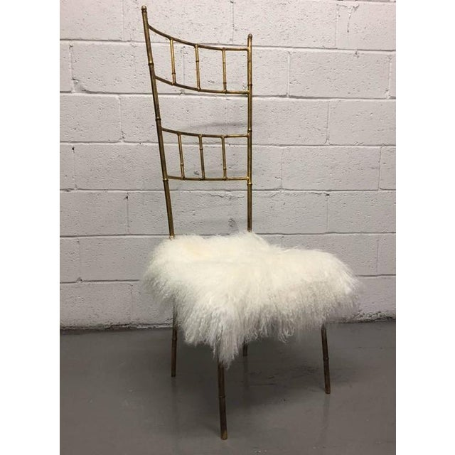 Tall Gold Gilt Gio Ponti Style Chairs with Long Haired Sheep Fur - Image 2 of 6