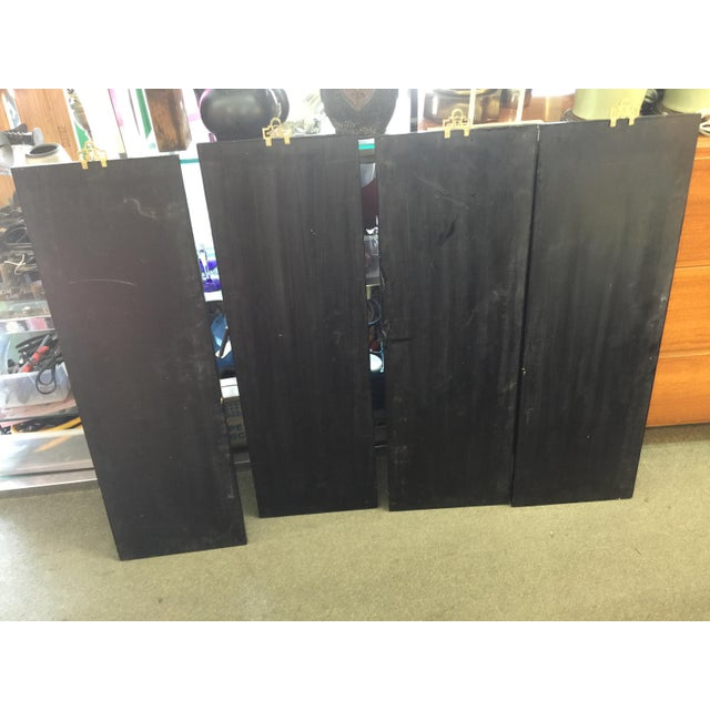 Lacquer Chinese Black Lacquer Hardstone Wall Panels Set of Four For Sale - Image 7 of 8