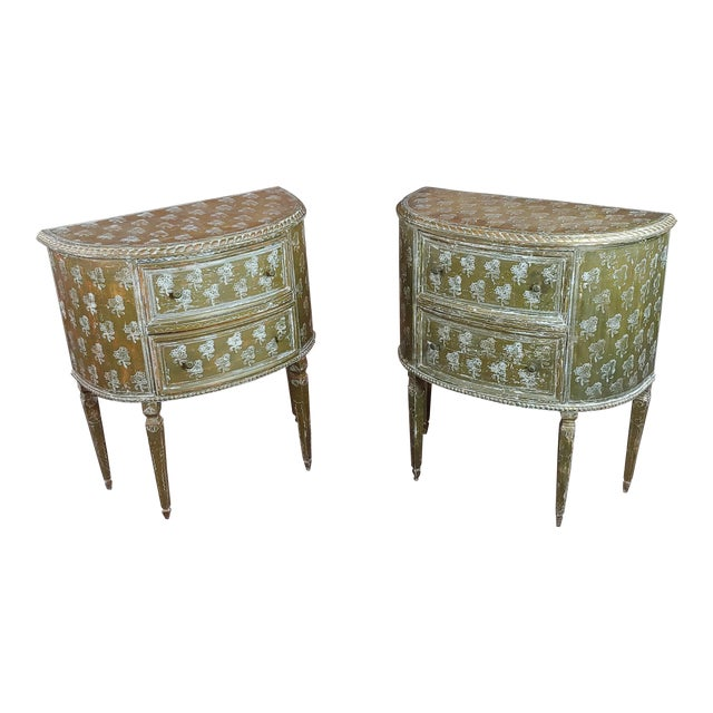 Antique Italian Florentine Demilune Gilt-Wood Commodes -A Pair - For Sale