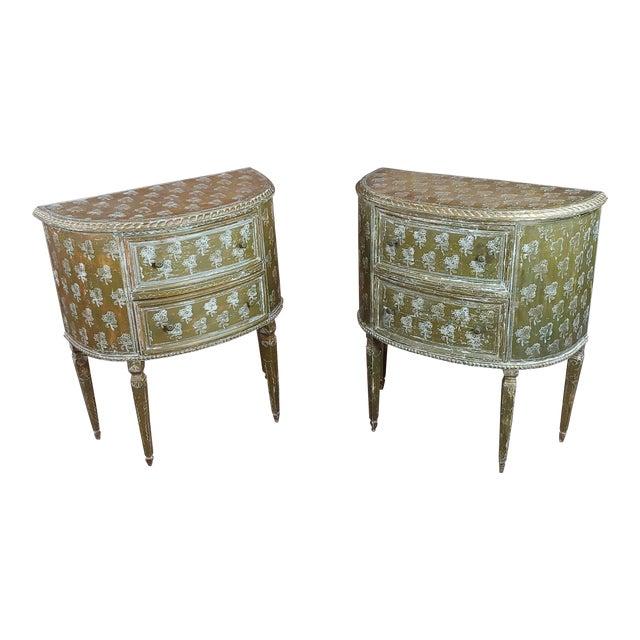 Antique Italian Florentine Demilune Gilt-Wood Commodes - A Pair For Sale