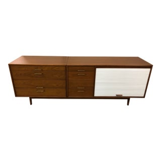 1950s Jens Risom Walnut 8 Drawer Credenza For Sale