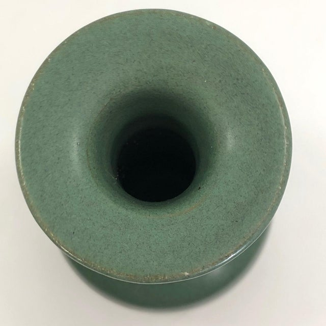 Vintage Art Pottery Vase With Long Neck and Satin Green Glaze For Sale In Boston - Image 6 of 13