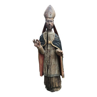 Folk Art Hand Painted Religious Statue For Sale