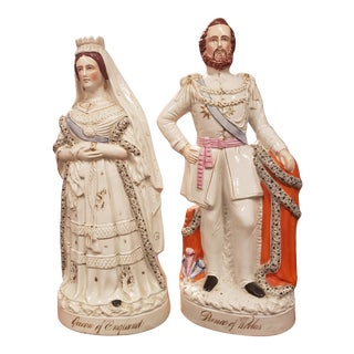 Victorian Staffordshire Figures of Queen Victoria and Prince Albert - a Pair For Sale