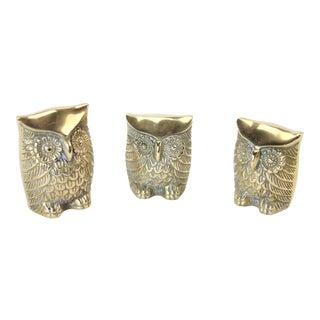 Vintage Brass Owl Figures - Set of 3 For Sale