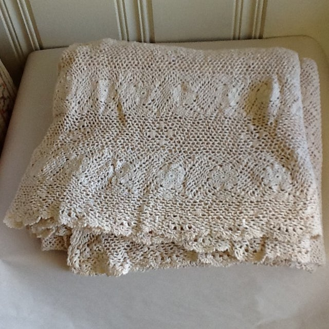 Vintage Boho Crocheted Coverlet or Tablecloth - Image 7 of 11