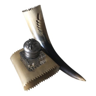 Antique Horn & Crystal Inkwell For Sale