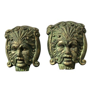 Architectural Face Mask Wall Plaques - a Pair For Sale