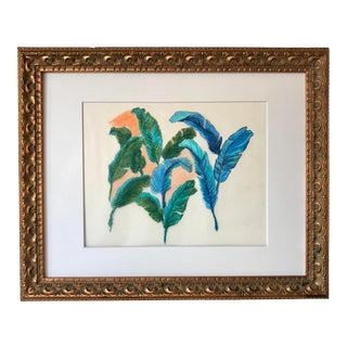Vintage Original Drawing of Tropical Feathers For Sale