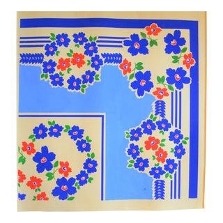 Vintage Daisy Art Deco Gouache Textile Painting on Paper For Sale