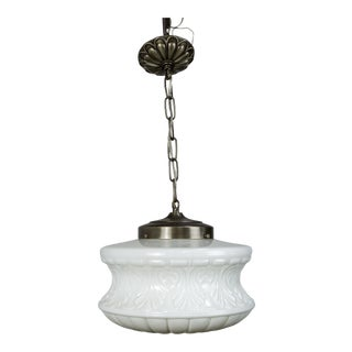 Molded Milk Glass Pendant Light
