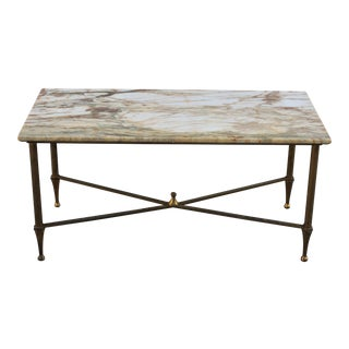 French Maison Jansen Coffee or Cocktail Table Bronze Rectangular With Marble Top Circa 1940s