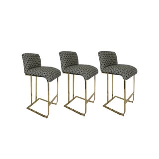 Vintage Milo Baughman Style Brass Cantilever Bar Stools- Set of 3 For Sale
