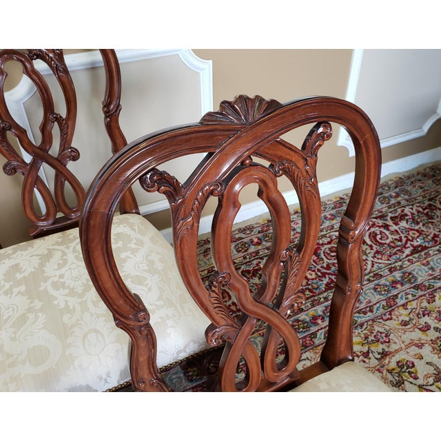 Karges Furniture High Top Tier Karges Furniture Mahogany Chippendale Dining Room Chairs - Set of 8 For Sale - Image 4 of 12