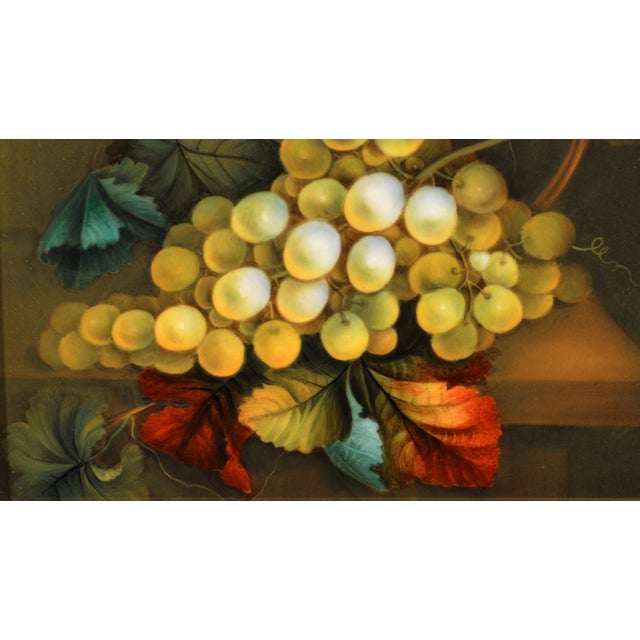 English Porcelain Still Life Plaque depicting Green Grapes on a Tabletop, In the manner of Thomas Steel, Circa 1830-40...