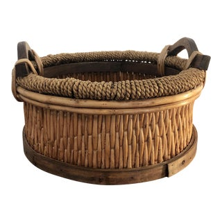 Late 20th Century Vintage Oriental Bamboo Ikebana Basket For Sale