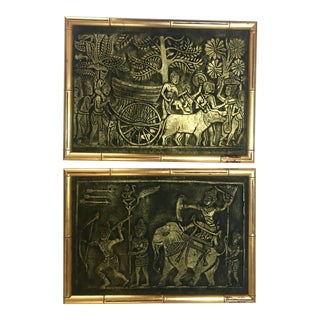Pair of Asian Pressings With Gilt Bamboo Frame For Sale