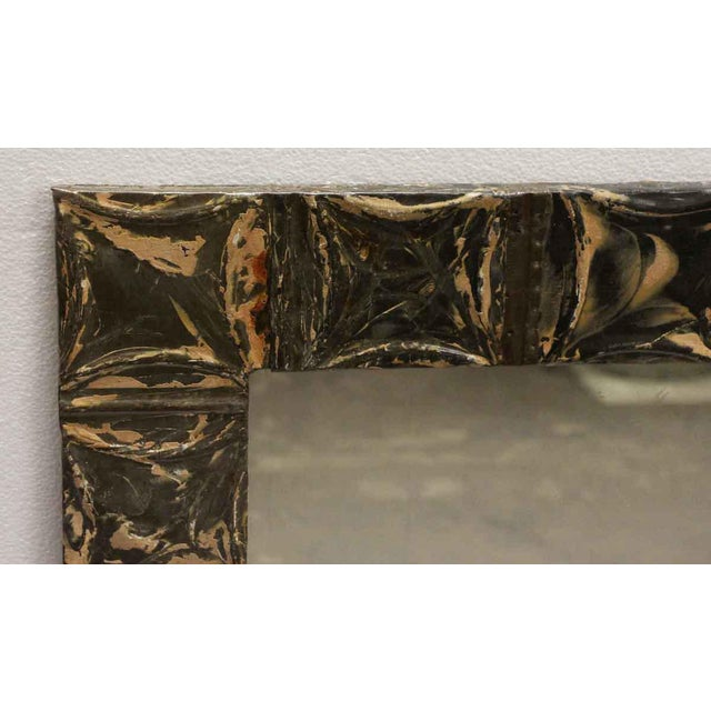 Traditional Brown & Tan Antique Square Pattern Mirror For Sale - Image 3 of 5