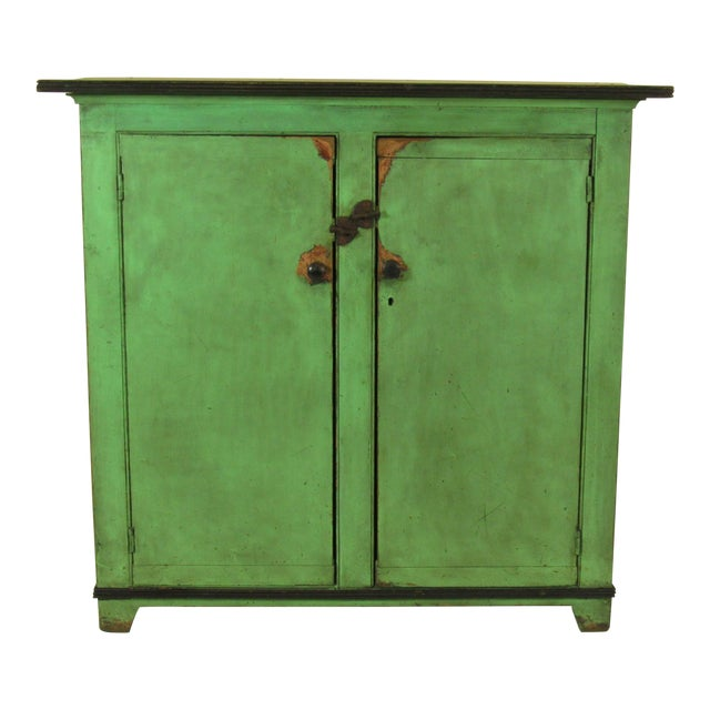 19th C. American Green Painted Cupboard For Sale