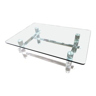 Vintage Hollywood Regency Lucite Faux Bamboo Coffee Table For Sale