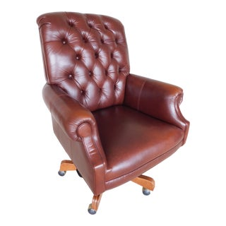 Ethan Allen Leather Tufted Back Executive Desk Chair For Sale