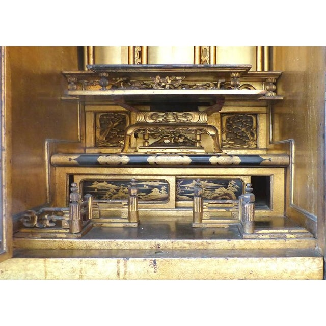 Lacquer Turn of the Century Monumental Japanese Buddhist Temple on Stand For Sale - Image 7 of 11