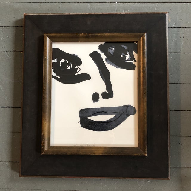 Wood Contemporary Robert Cooke Abstract Face Painting Framed For Sale - Image 7 of 7