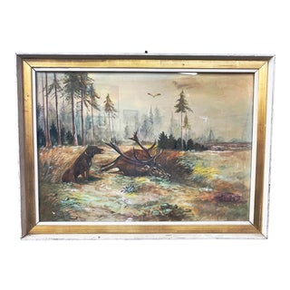 Late 20th Century Framed Stag and Dog Hunt Scene Watercolor Painting For Sale