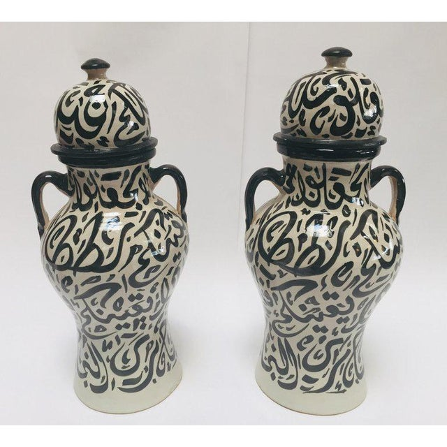 Pair of Moroccan Glazed Ceramic Urns With Arabic Calligraphy From Fez For Sale - Image 13 of 13
