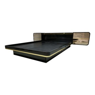 High Gloss Mid Century Floating Bed With Mirrored Drawers, Brass Trim For Sale