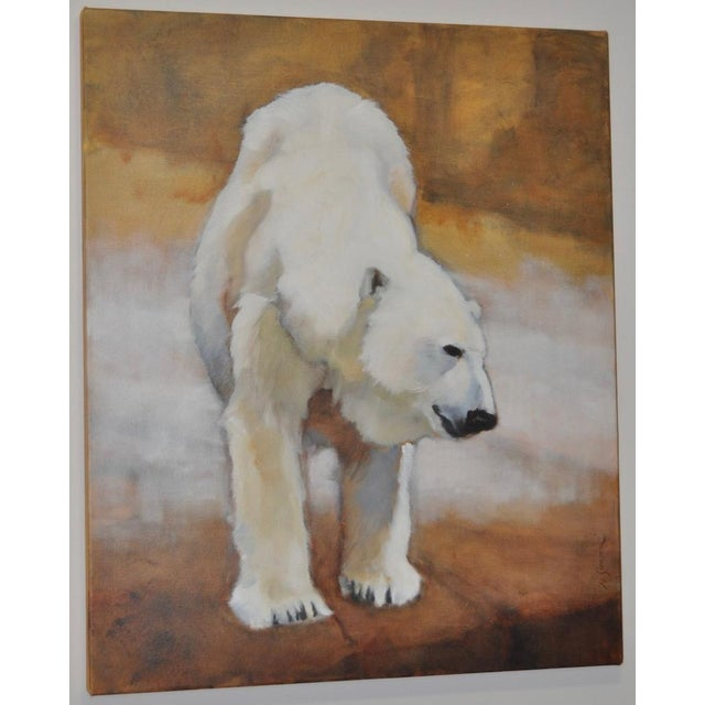 "Ute Simon ""Polar Bear"" Oil on Canvas Painting, Circa 2003 - Image 2 of 9"