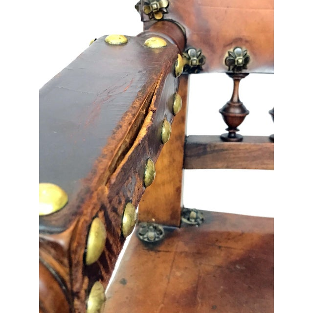 Mid 19th Century 19th Century Renaissance Revival Leather Game of Thrones Style Armchair For Sale - Image 5 of 9