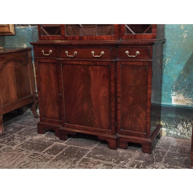 Antique English Mahogany Small Breakfront Bookcase For Sale - Image 4 of 8