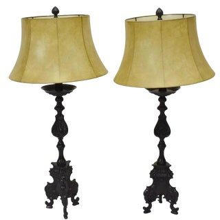 Vintage Baroque Patinated Metal Table Lamps With Shades - a Pair For Sale