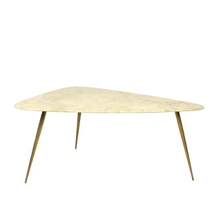1950´s Tripod Sidetable, Marble, Brass - Italy For Sale