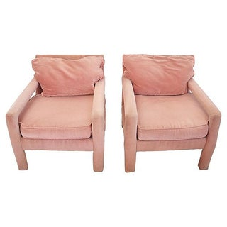 Baughman-Style Pink Velvet Parsons Chairs - A Pair